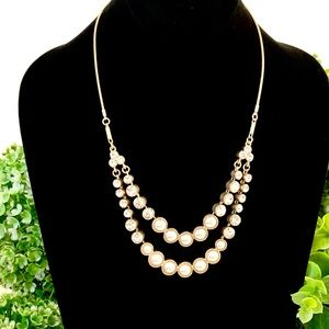 LOFT pearl & crystal double layered necklace NWT